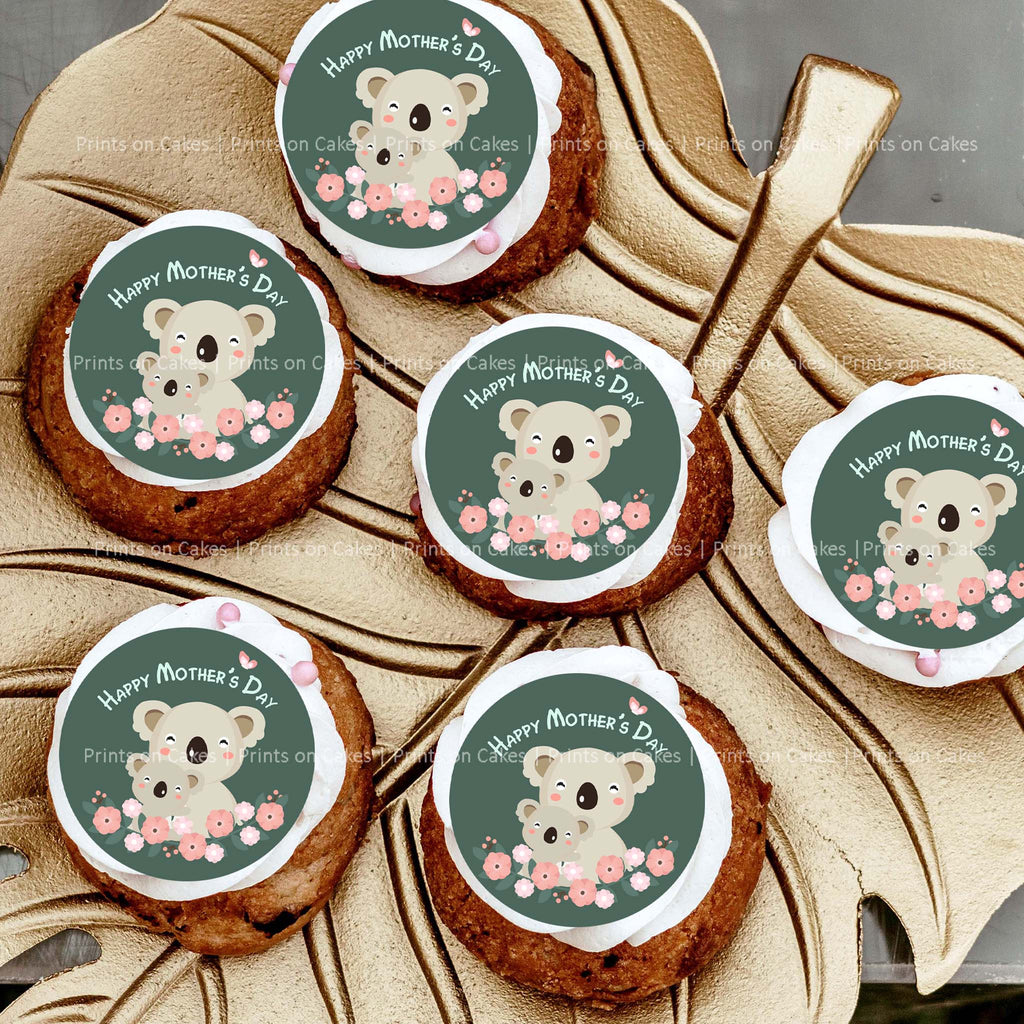 "Every Mum would be happy to receive sweet treats decorated with these adorable Koala mum & baby edible images.  15 pre-cut circles with a diameter of 5 cm (2"") each.   Perfect for Cupcakes, Cookies and Biscuits."