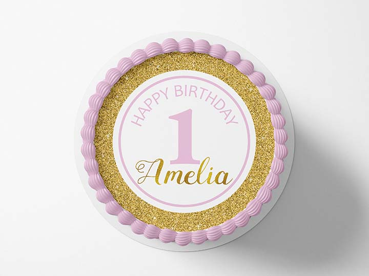 1st Birthday Pink & Gold - Edible Icing Image - printsoncakes