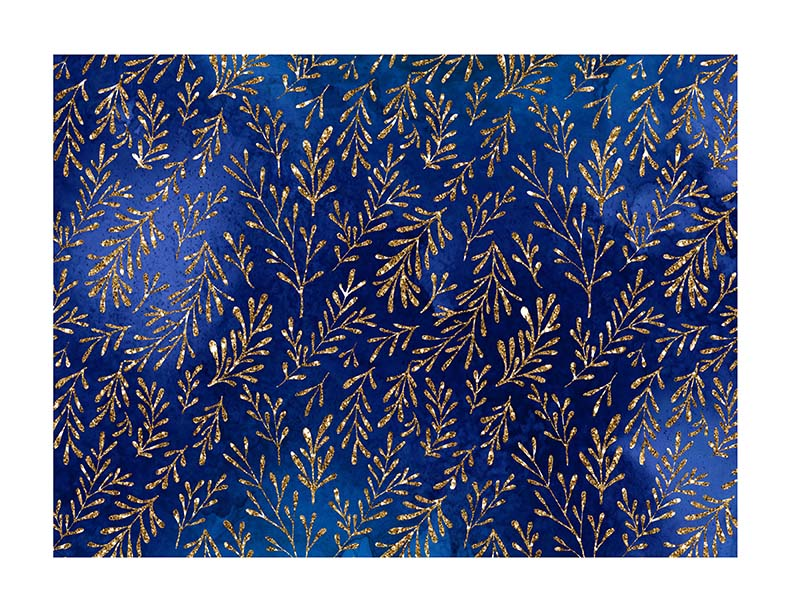 Navy blue and gold glitter leaves - Icing Cake Wrap - printsoncakes