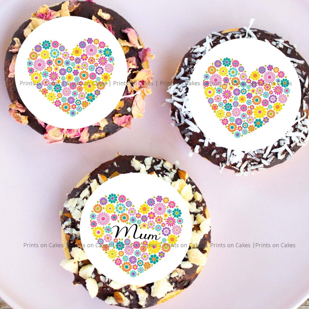 "Make Mother's Day extra special this year when you add on these cake toppers with vibrant floral prints.  15 pre-cut circles with a diameter of 5 cm (2"") each.   Perfect for Cupcakes, Cookies and Biscuits."
