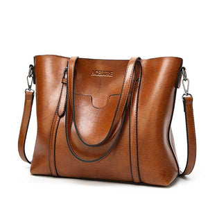 Luxury oil wax, leather look handbag with purse pocket in a range of modern colours