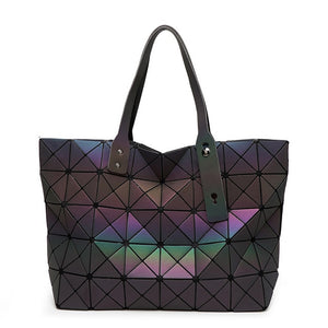Luminous geometric pattern quilted tote bag