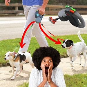 Two-Headed Dog Leash ABS Automatic Retractable