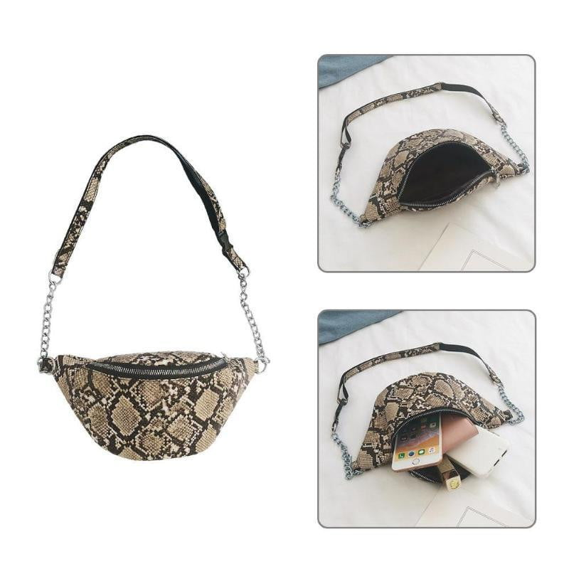 Snake Print Shoulder Messenger Handbags for Ladies Waist Chain Packs Women PU Leather Casual Crossbody Bags 2019