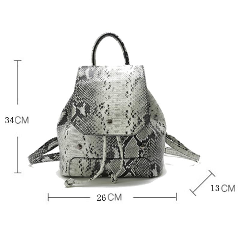 New Shoulder Bag Snake Pattern Women's PU Leather Bucket European And American Style Tassel Fashion Backpack Women