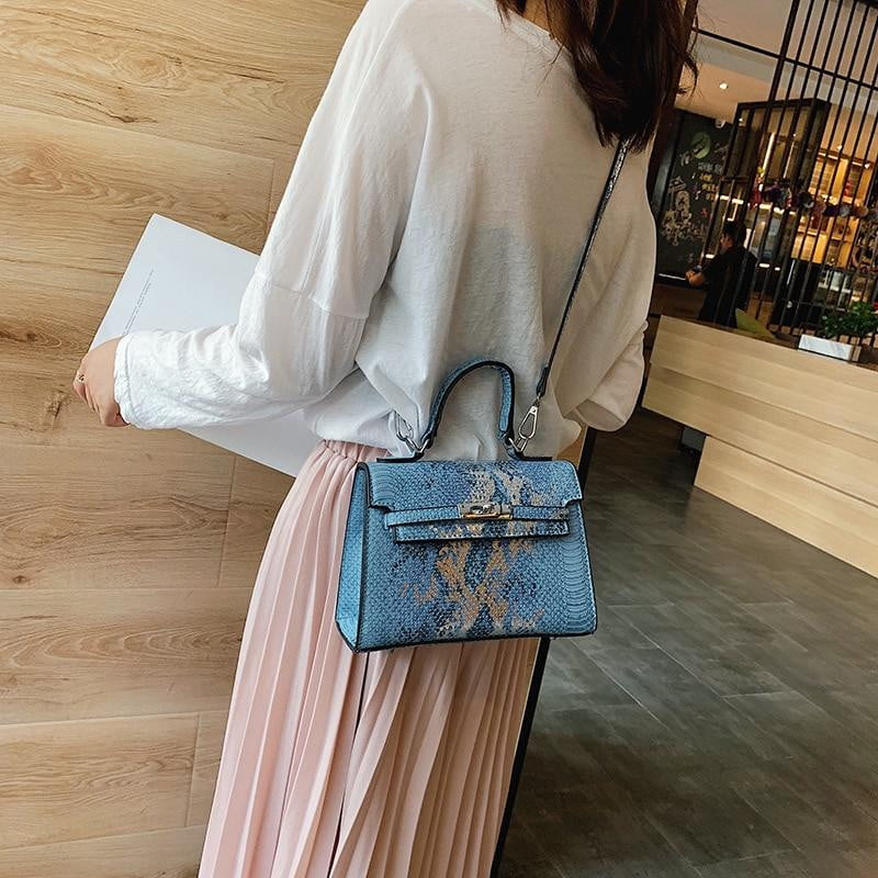 Bags for Women 2019 Luxury Handbags Women Bags Designer Snake Pattern Leather Shoulder Bag Female Fashion Sequin Cross body Bags