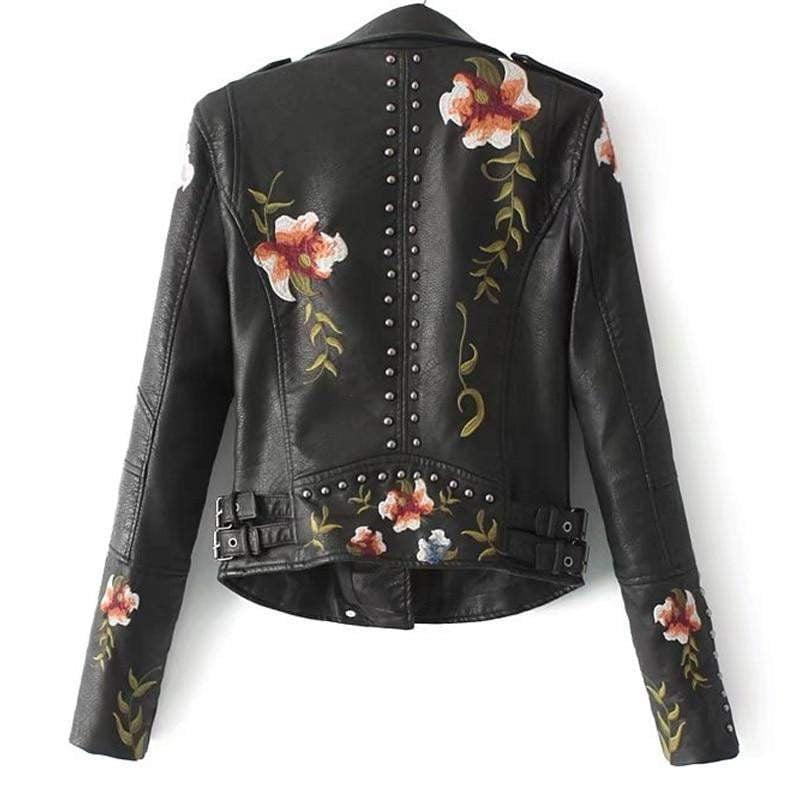 Floral Print Leather Jacket