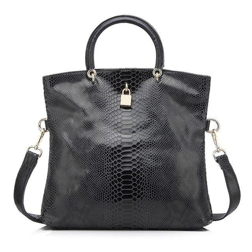 Snake Pattern Genuine Leather Handbag