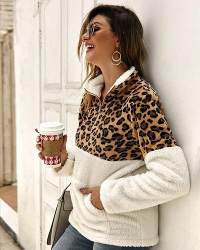 Leopard Fluffy Sweatshirt Women