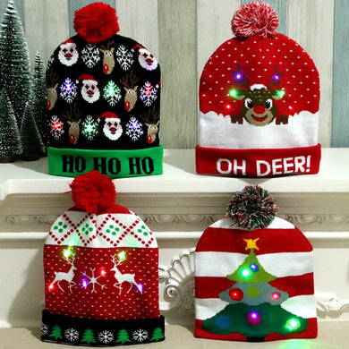 LED Christmas Beanie | LED Light-up Christmas Hats Xmas