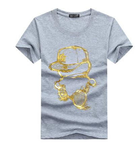 Men T-Shirts Summer Short Sleeve Casual Cotton Men tShirts Golden person cartoon printing t shirt men tee shirt