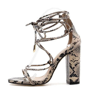 Snakeskin Pumps Square High Heel Sandals