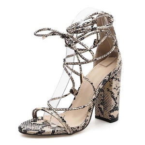Snakeskin Pumps Square High Heel Sandals | Snake Print Shoes