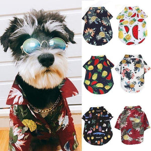 Dog Printed Shirt Summer Clothes Dog Hawaiian Style Short Clothing Thin Sleeves Costume Cute Pet Clothes With Pineapple Pattern Puppy Kitty Cat