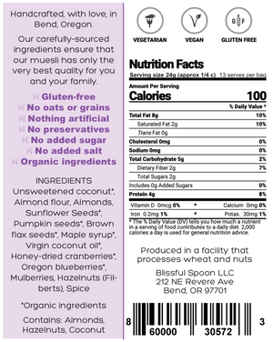 Nutrition information back label