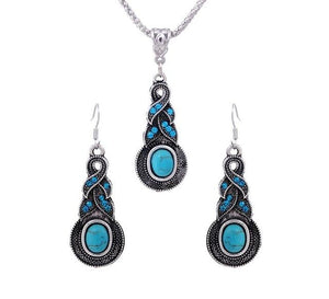 Turquoise Blue Stone Jewelry Set-Jewelry-Love Me Accessories -Love Me Accessories