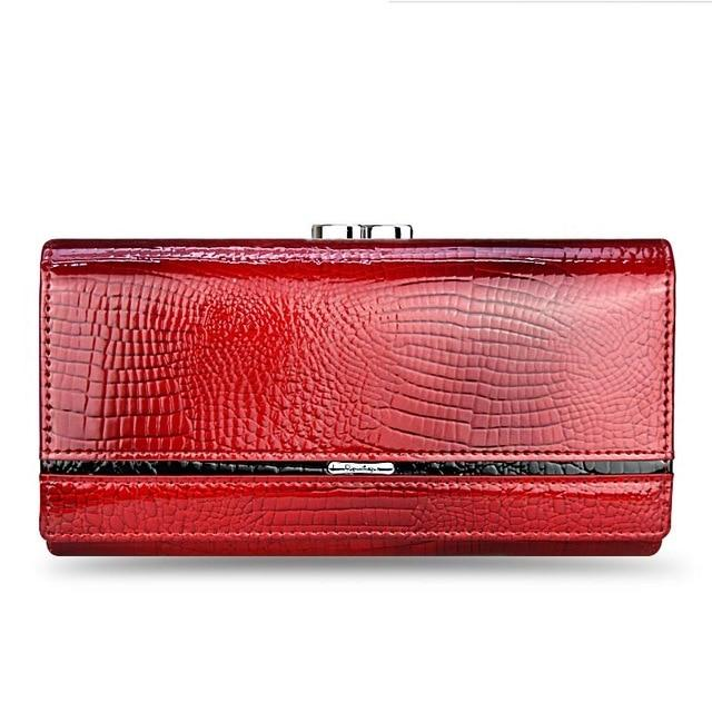 Genuine Leather Clutch Crocodile Print-Clutch-Love Me Accessories -Red-Love Me Accessories