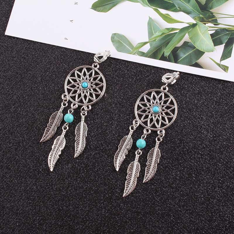 Vintage Dream Catcher Clip-on Earrings-Earrings-Love Me Accessories -Turquoise-Love Me Accessories