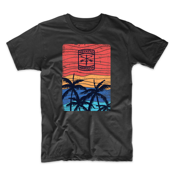 California Palm Trees Silhouette - Distressed Print