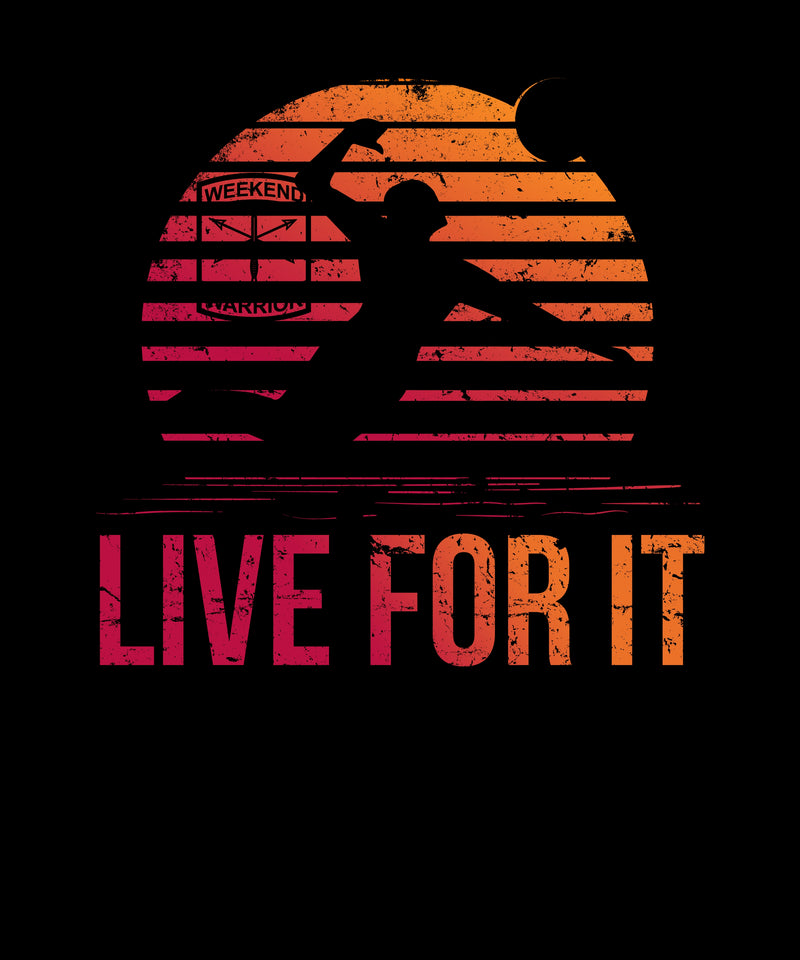Live For It Sunset Volleyball Spike Silhouette - Distressed Print