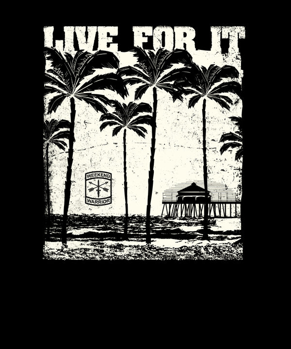 Live For It Beach Palm Trees - Distressed Print