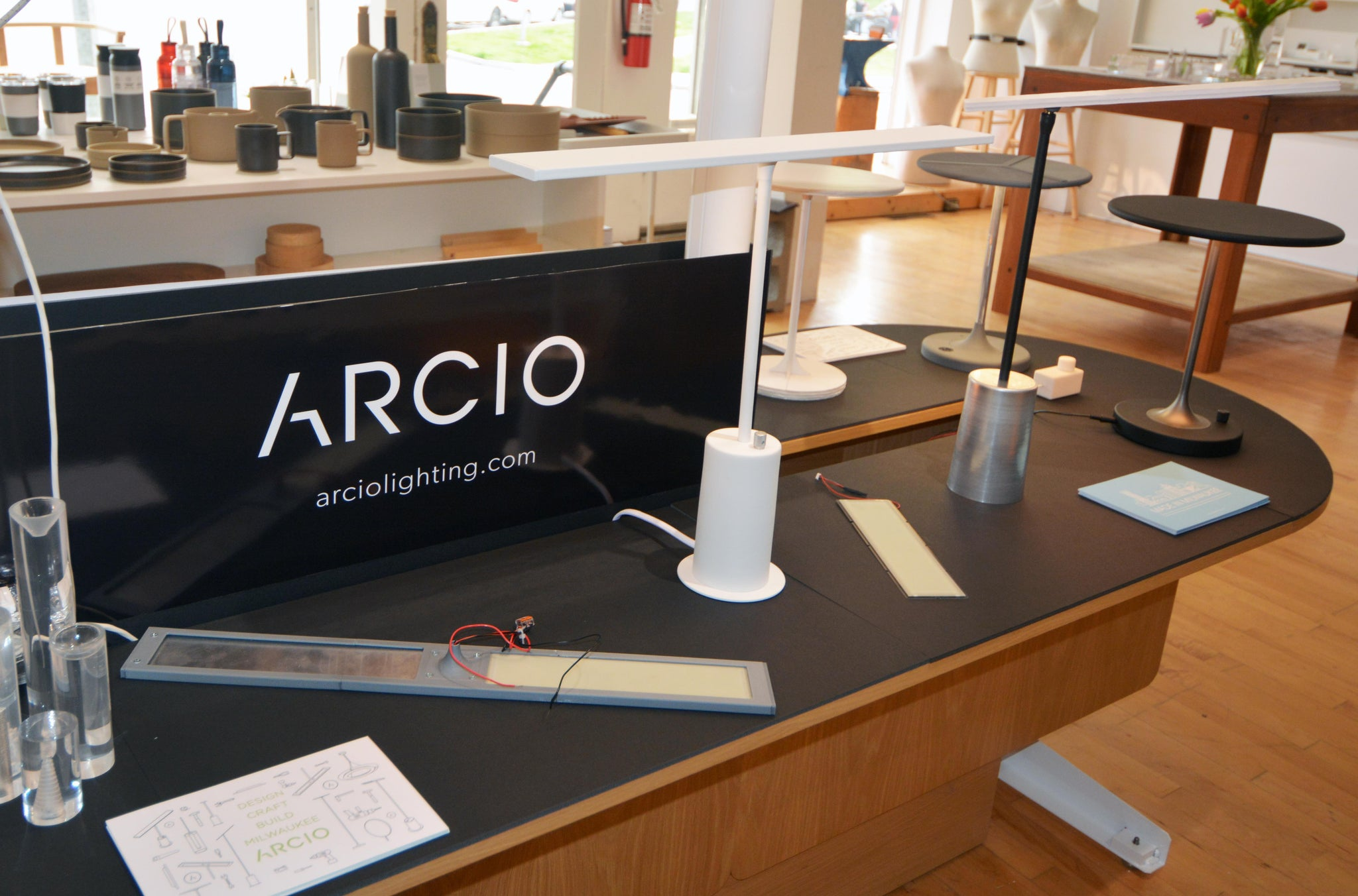 Arcio lighting product display at commonplace shop