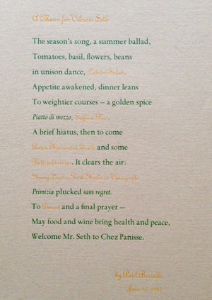 (Chez Panisse) A Menu for Vikram Seth.
