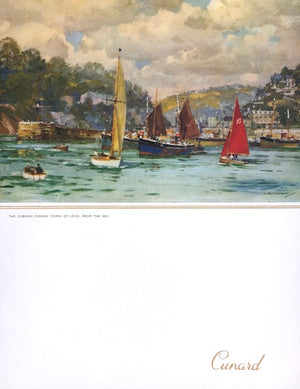 (**New Arrival**) (Menu) Cunard. R.M.S. Queen Elizabeth. The Cornish Fishing Town of Looe, from the Sea: Gala Dinner.