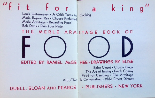 Armitage, Merle. Fit For a King: The Merle Armitage Book of Food.