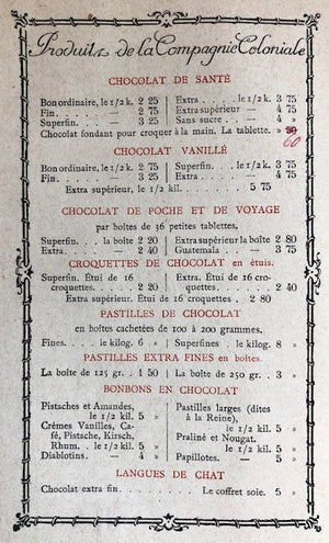 (Chocolate) Compagnie Coloniale. Le Chocolat: Son Influence sur la Sante.