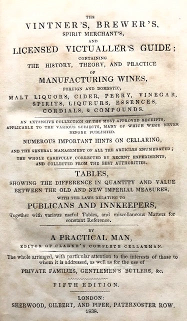 (Cocktails) [Wetton, W.]. The Vintner's, Brewer's, Spirit Merchant's and Licensed Victualler's Guide