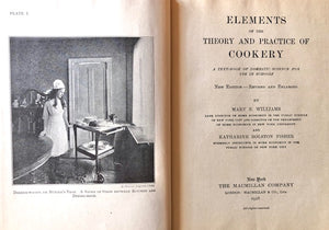 Williams, Mary E. &  Katharine R. Fisher.  Elements of the Theory and Practice of Cookery: A Text-Book of Domestic Science for Use in Schools.