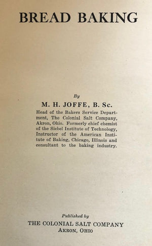 (**New Arrival**)  (Bread) M.H. Joffe.  Bread Baking.