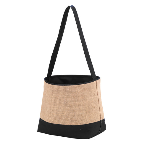 Black Burlap Bucket