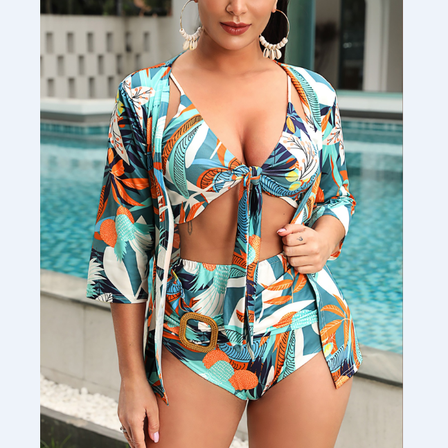 Spaghetti Strap Plant Print Knotted Bikini Set With Cover Up