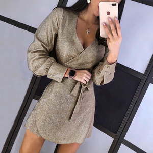Slim V-Neck Women Long-Sleeved Dress