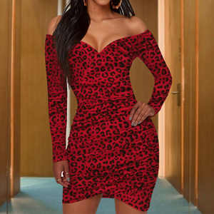 V-Neck Long Sleeve Leopard Dress