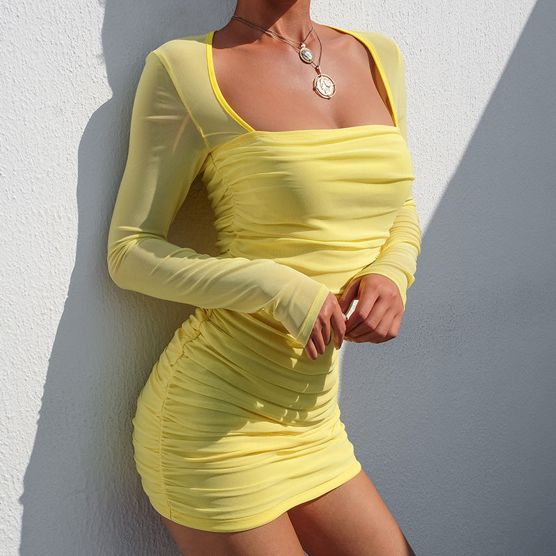 Yellow Long-Sleeved Package Hip Dress