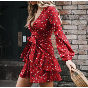 Red V-Neck Printed Long Sleeve Dress