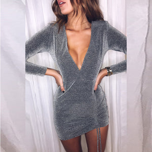 Long Sleeve V-Neck High Waist Dress