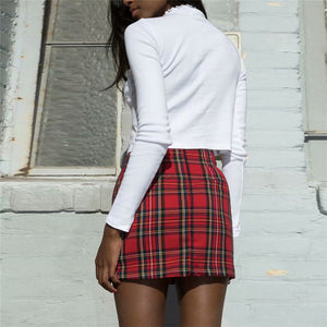 Red Plaid Package Hip Skirts