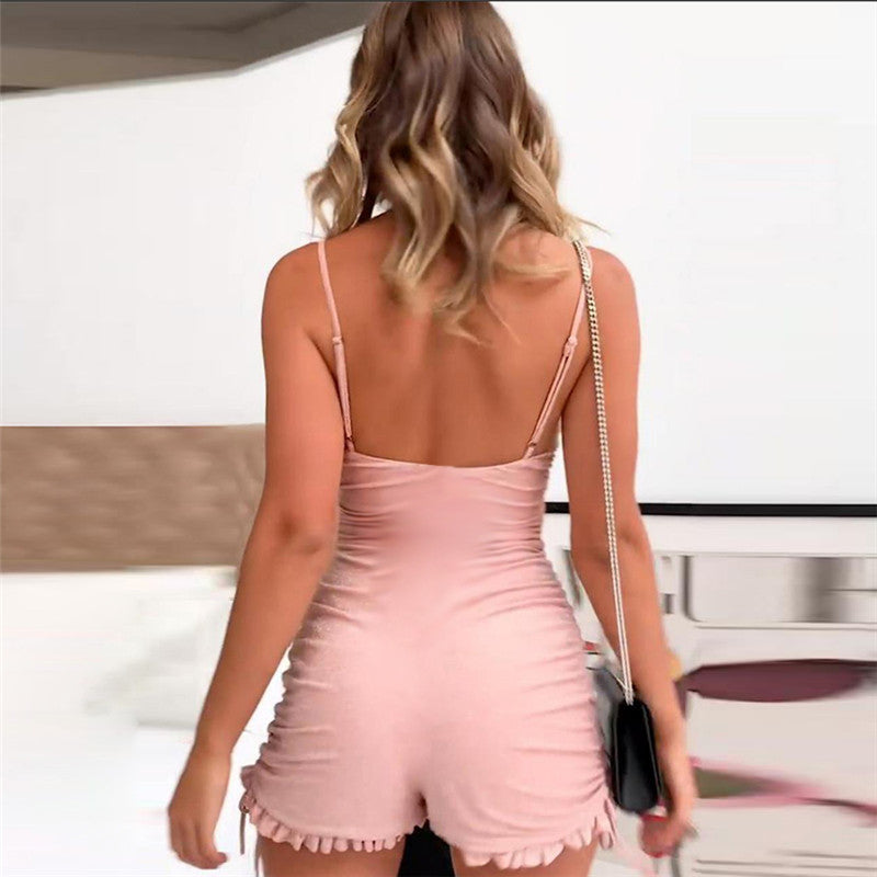 Pink Sling Backless Wrapped Chest Jumpsuit