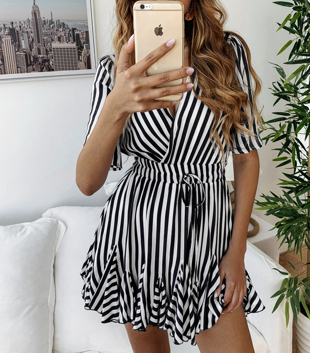Fashion Printed Striped Short Sleeve Dress