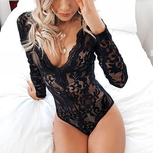 Slim Sexy Lace V-Neck Long Sleeve Jumpsuit