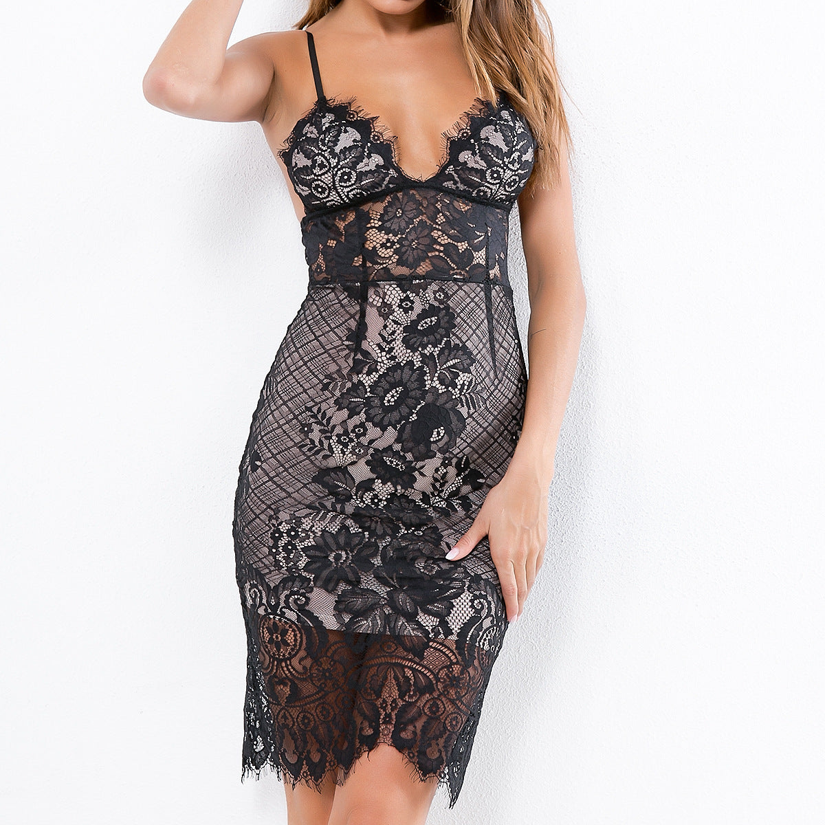 Sling Design Lace Open Back Sleeveless Dress