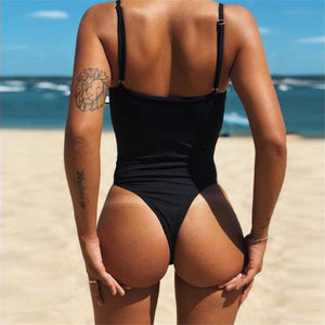 Solid Color Sexy Backless One-Piece Swimsuit Bikini