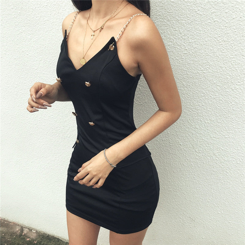 Women's Breasted V-neck Halter Dress