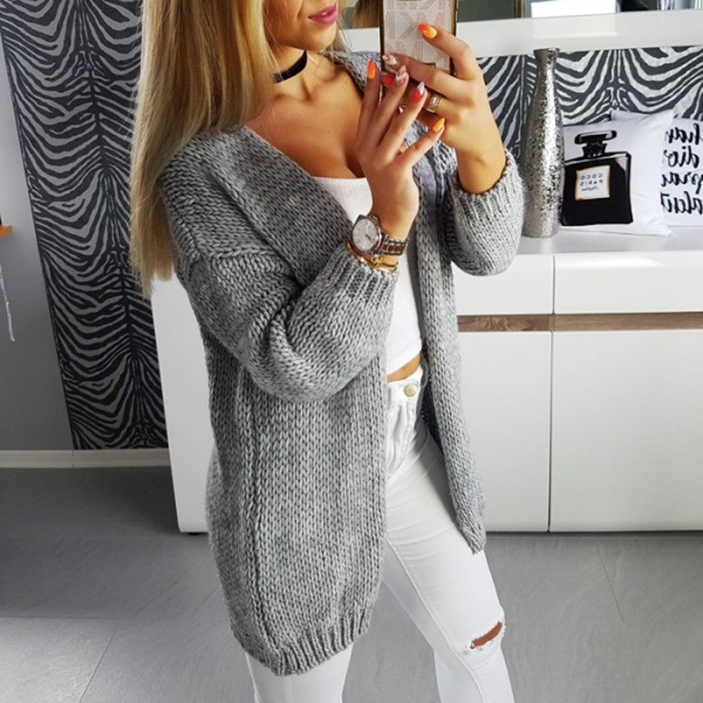 Loose Solid Color Long-Sleeved Knit Cardigan Coat