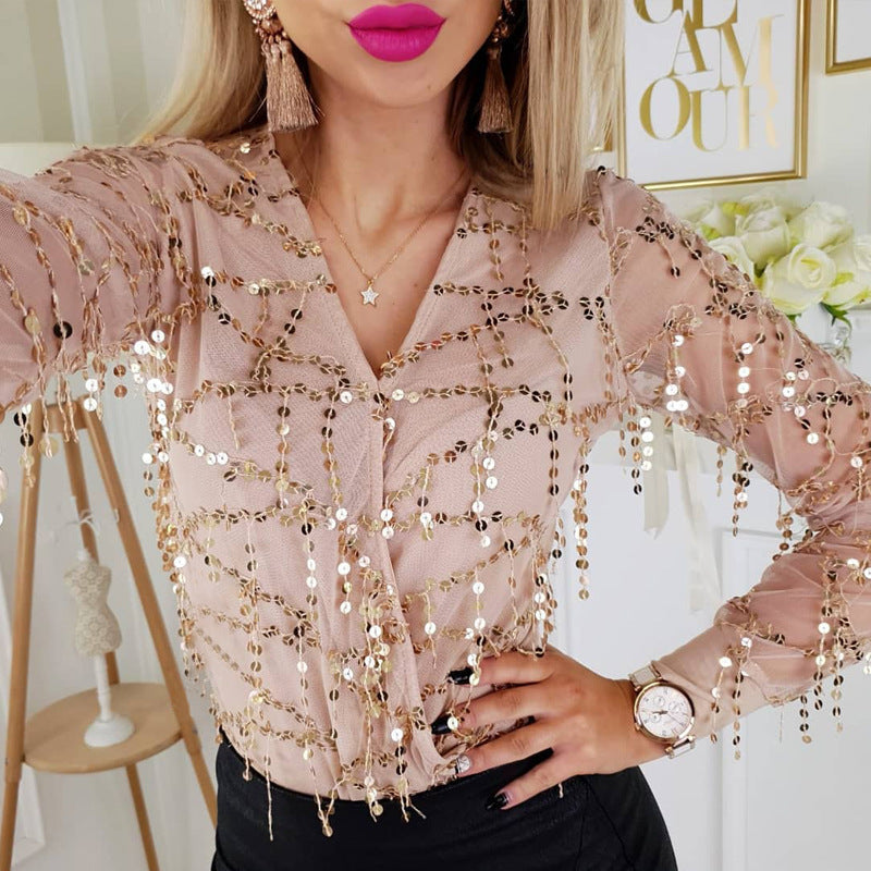 Sexy Chiffon Long Sleeve Solid Color Sequin Top
