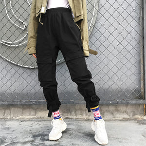 Street Black Cargo Trousers